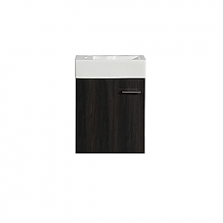 SWISS MADISON SM-BV612 COLMER 18 INCH WALL-MOUNTED SINGLE BATHROOM VANITY IN BLACK WALNUT WITH WHITE BASIN