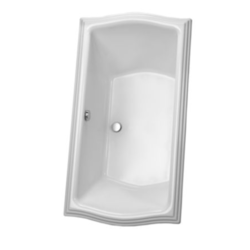 TOTO ABY785N CLAYTON 66 X 34 X 24-3/4 INCH ACRYLIC SOAKING BATHTUB WITH CENTER DRAIN AND GRAB BAR