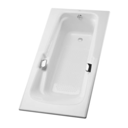 TOTO FBY1500P 60-3/8 X 36-1/4 X 22-1/4 INCH ENAMELED CAST IRON SOAKING BATHTUB WITH REVERSIBLE DRAIN