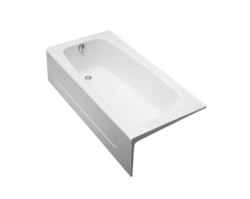 TOTO FBY1715LP 65-3/4 X 32 X 16-3/4 INCH ENAMELED CAST IRON BATHTUB WITH LEFT HAND DRAIN