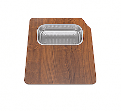 FRANKE OC2-45SP ORCA 2.0 SOLID WOOD CUTTING BOARD WITH STAINLESS STEEL COLANDER