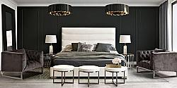 DIAMOND SOFA BARDOTQUBED BARDOT 66 INCH LEATHERETTE QUEEN SIZE BED WITH CHANNEL-TUFTED HEADBOARD AND LOW PROFILE DESIGN