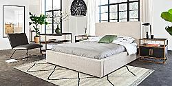 DIAMOND SOFA CLOUDQUBED CLOUD 69 1/2 INCH FABRIC QUEEN SIZE BED WITH PIPED STITCHING AND LOW PROFILE