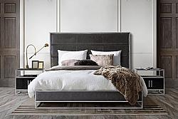 DIAMOND SOFA EMPIREQUBED EMPIRE 64 INCH QUEEN BED WITH CHANNEL TUFTED HEADBOARD AND LOW PROFILE