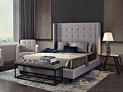 DIAMOND SOFA MADISONAVEQUBED MADISON AVE 68 INCH FABRIC QUEEN SIZE BED WITH BUTTON TUFTED WINGBACK HEADBOARD