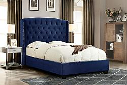 DIAMOND SOFA MAJESTICQUBED MAJESTIC 70 INCH VELVET QUEEN SIZE SLEIGH BED WITH NAIL HEAD WING ACCENTS