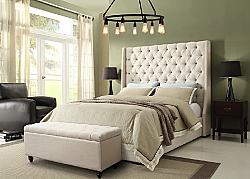 DIAMOND SOFA PARKAVEQUBED PARK AVENUE 71 INCH VINTAGE WING QUEEN SIZE BED WITH BUTTON TUFTED HEADBOARD