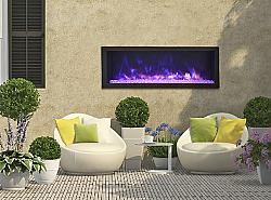 REMII 102745-DE 44 1/8 INCH DEEP BUILT-IN ELECTRIC FIREPLACE WITH STEEL SURROUND - BLACK