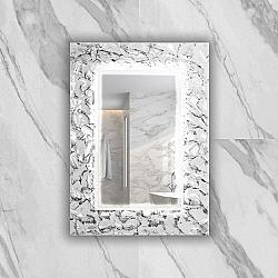 PIACEREBATH MIR-ARMS-WHS ARMIN 27 5/8 INCH LUXURY MURANO GLASS SINGLE VANITY LED MIRROR - WHITE AND SILVER