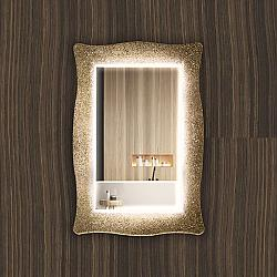 PIACEREBATH MIR-LIMS-CBR LIMA 27 5/8 INCH LUXURY MURANO GLASS DOUBLE VANITY LED MIRROR - BLACK AND GOLD