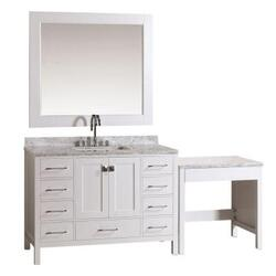 DESIGN ELEMENT DEC082C-W_MUT-W LONDON 48 INCH SINGLE SINK VANITY IN WHITE FINISH WITH ONE MAKE-UP TABLE IN WHITE FINISH