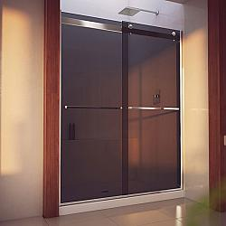 DREAMLINE SHDR-6360760H ESSENCE-INCH 56-60 W X 76 INCH SEMI-FRAMELESS BYPASS SHOWER DOOR WITH SMOKE GREY GLASS