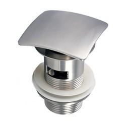 KUBEBATH P102NO-BN SOLID BRASS SQUARE POP-UP DRAIN NO OVERFLOW IN BRUSH NICKEL