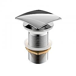 KUBEBATH P102-CH SOLID BRASS SQUARE POP-UP DRAIN WITH OVERFLOW IN CHROME
