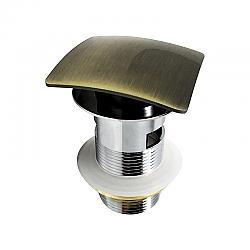 KUBEBATH P102-BRZ SOLID BRASS SQUARE POP-UP DRAIN WITH OVERFLOW IN GOLD BRONZE