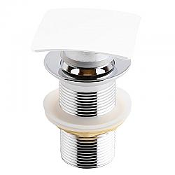 KUBEBATH P102-WH SOLID BRASS SQUARE POP-UP DRAIN WITH OVERFLOW IN WHITE