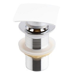 KUBEBATH P102NO-WH SOLID BRASS SQUARE POP-UP DRAIN NO OVERFLOW IN WHITE
