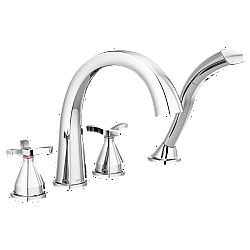 DELTA T47776 STRYKE 10 3/4 INCH DOUBLE CROSS HANDLE DECK MOUNT ROMAN TUB FAUCET WITH HAND SHOWER