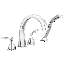 DELTA T4777 STRYKE 10 3/4 INCH DOUBLE LEVER HANDLE DECK MOUNT ROMAN TUB FAUCET WITH HAND SHOWER