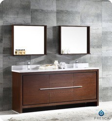 FRESCA FVN8172WG ALLIER 72 INCH WENGE BROWN MODERN DOUBLE SINK BATHROOM VANITY WITH MIRROR