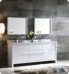 FRESCA FVN8172WH ALLIER 72 INCH WHITE MODERN DOUBLE SINK BATHROOM VANITY WITH MIRROR
