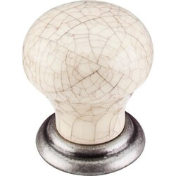 TOP KNOBS M109 PTA CHATEAU CERAMIC KNOB SMALL 1-1/8 INCH PEWTER ANTIQUE AND BONE CRACKLE