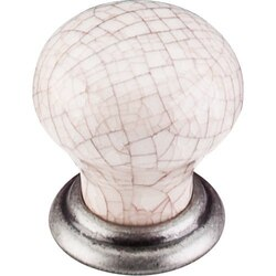TOP KNOBS M110 PTA CHATEAU CERAMIC KNOB SMALL 1-1/8 INCH PEWTER ANTIQUE AND ANTIQUE CRACKLE