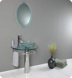FRESCA FVN1060 ATTRAZIONE 28.75 INCH MODERN GLASS BATHROOM VANITY WITH FROSTED EDGE MIRROR