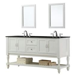 DIRECT VANITY SINK 6070D10-WBK-2M MISSION TURNLEG 70 INCH WHITE DOUBLE VANITY WITH BLACK GRANITE VANITY TOP AND MIRRORS