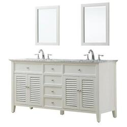 DIRECT VANITY SINK 6070D12-WWC-2M SHUTTER 70 INCH WHITE VANITY WITH WHITE CARRARA MARBLE TOP AND MIRRORS