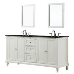 DIRECT VANITY SINK 6070D9-WBK-2M CLASSIC 70 INCH VANITY IN PEARL WHITE WITH GRANITE VANITY TOP IN BLACK AND MIRRORS