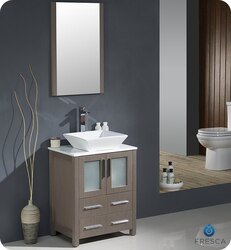 FRESCA FVN6224GO-VSL TORINO 24 INCH GRAY OAK MODERN BATHROOM VANITY WITH VESSEL SINK