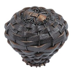 ATLAS 3174-O HAMPTONS COLLECTION 2 INCH AGED BRONZE LARGE ESPRESSO LEATHER ROUND KNOB