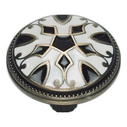 ATLAS 3186-B-W CANTERBURY COLLECTION 1-1/2 INCH ANTIQUE BRASS WITH ENAMELING LACQUER BLACK & WHITE ROUND KNOB