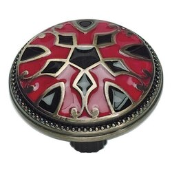 ATLAS 3186-R-B CANTERBURY COLLECTION 1-1/2 INCH ANTIQUE BRASS WITH ENAMELING LACQUER RED & BLACK ROUND KNOB