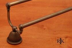 RK INTERNATIONAL BEAE 9 24 INCH BEADED BELL BASE DOUBLE TOWEL BAR