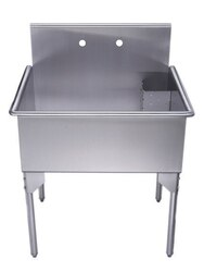 WHITEHAUS WHLS3024-NP 30-INCH BRUSHED STAINLESS STEEL FREESTANDING UTILITY SINK