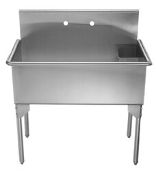 WHITEHAUS WHLS3618-NP 36-INCH BRUSHED STAINLESS STEEL FREESTANDING UTILITY SINK