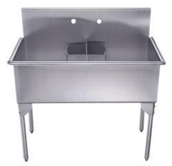 WHITEHAUS WHLSDB4020-NP 40-INCH BRUSHED STAINLESS STEEL FREESTANDING UTILITY SINK