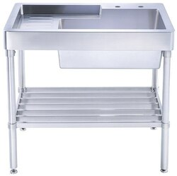 WHITEHAUS WH33209 PEARLHAUS SINGLE BOWL, FREESTANDING UTILITY SINK WITH DRAINBOARD AND LOWER RACK