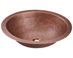 POLARIS P019 SINGLE BOWL OVAL COPPER SINK 19 INCH HAMMERED COPPER
