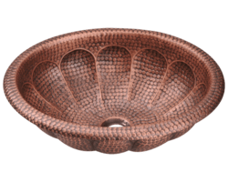POLARIS P129 SINGLE BOWL OVAL COPPER SINK 17 INCH HAMMERED COPPER