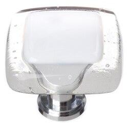 SIETTO K-701 REFLECTIVE WHITE 1-1/4 INCH SQUARE CABINET KNOB
