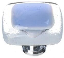 SIETTO K-704 REFLECTIVE SKY BLUE 1-1/4 INCH SQUARE CABINET KNOB