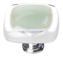 SIETTO K-712 REFLECTIVE SPRUCE GREEN 1-1/4 INCH SQUARE CABINET KNOB