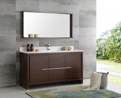 FRESCA FVN8119WG-S TRIESTE ALLIER 60 INCH WENGE BROWN MODERN SINGLE SINK BATHROOM VANITY WITH MIRROR