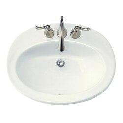 AMERICAN STANDARD 0478.403 PIAZZA 18-1/2 INCH COUNTERTOP SELF RIMMING PORCELAIN SINK, 4 INCH CENTER TO CENTER