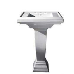 AMERICAN STANDARD 0780.800.020 TOWN SQUARE 15 INCH FIRECLAY LAVATORY AND PEDESTAL, 8 INCH CENTER TO CENTER