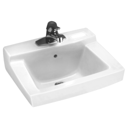 AMERICAN STANDARD 0321.026.020 DECLYN 14-1/4 INCH PORCELAIN WALL MOUNT RECTANGULAR SINK IN WHITE WITH WALL HANGER, 4 INCH CENTER TO CENTER