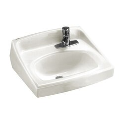 AMERICAN STANDARD 0356.066.020 LUCERNE 15 INCH PORCELAIN WALL MOUNT D-SHAPED SINK IN WHITE FOR EXPOSED BRACKET SUPPORT